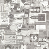 2604-21269 Souvenir Grey Vintage Tags Wallpaper