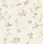 2766-002536 Jacqueline Multicolor Floral Scroll Wallpaper
