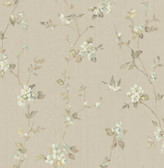 2766-002539 Jacqueline Taupe Floral Scroll Wallpaper