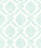 2766-003510 Varrichio Aqua Damask Wallpaper