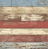 Kitchen & Bath Essentials 2766-22319 - Siesta Key Scrap Wood Wallpaper Red
