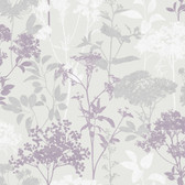 Kitchen & Bath Essentials 2766-42034 - Brassia Silhouette Floral Wallpaper Lavender