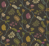 Waverly Small Prints WP2404 - A New Leaf Wallpaper Charcoal