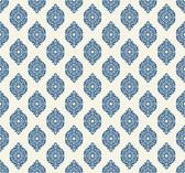 Waverly Small Prints WP2479 - Garden Gate Wallpaper Marine Blue/White