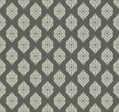 Waverly Small Prints WP2482 - Garden Gate Wallpaper Dark Stone Grey/Cream