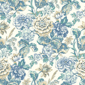 Waverly Classics II WC7531 - Sonnet Sublime Wallpaper Blue