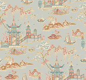 Waverly Classics II WC7550 - Peaceful Temple Wallpaper Grey