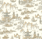Waverly Classics II WC7554 - Peaceful Temple Wallpaper Beige