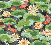 Waverly Classics II WC7560 - Lotus Lake Wallpaper Black