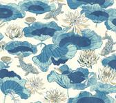 Waverly Classics II WC7561 - Lotus Lake Wallpaper Blue