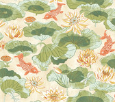 Waverly Classics II WC7562 - Lotus Lake Wallpaper Olive
