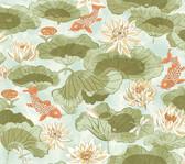 Waverly Classics II WC7563 - Lotus Lake Wallpaper Moss