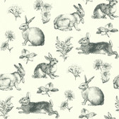 A Perfect World AT4263 - Bunny Toile Wallpaper Black/White