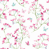 A Perfect World KI0513 - Watercolor Branch Wallpaper Magenta/Green