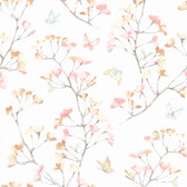 A Perfect World KI0514 - Watercolor Branch Wallpaper Peach/Aqua