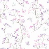 A Perfect World KI0515 - Watercolor Branch Wallpaper Purple