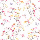A Perfect World KI0516 - Watercolor Branch Wallpaper Pink/Orange/Purple