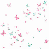 A Perfect World KI0523 - Watercolor Butterflies Wallpaper Magenta