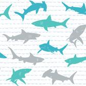 A Perfect World KI0567 - Shark Charades Wallpaper Teal/Silver
