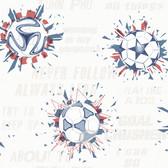 A Perfect World KI0576 - Soccer Ball Blast Wallpaper Blue/Red