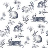 A Perfect World KI0581 - Bunny Toile Wallpaper Navy