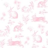 A Perfect World KI0582 - Bunny Toile Wallpaper Pink