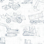A Perfect World KS2350 - Construction Blueprint Wallpaper Navy on White