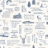 Birch & Sparrow 3118-01474 - North Hills Camping Quotes Wallpaper  Navy