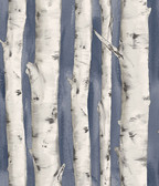 3118-12604 Pioneer Denim Birch Tree Wallpaper