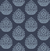 3118-25092 Totem Blue Pinecone Wallpaper