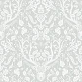 Birch & Sparrow 3118-12702 - Kiwassa Antler Damask Wallpaper Grey