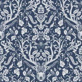 3118-12703 Kiwassa Navy Antler Damask Wallpaper