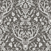 Birch & Sparrow 3118-12704 - Kiwassa Antler Damask Wallpaper Brown