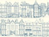 Ashford Toiles AF1908 - Brownstone Terrace Wallpaper Blue