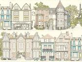 AF1909-Ashford Toiles Brownstone Terrace Wallpaper
