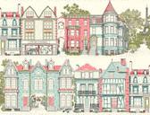 Ashford Toiles AF1910 - Brownstone Terrace Wallpaper Red