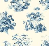 Ashford Toiles AF1990 - Oriental Scenic Wallpaper Blue