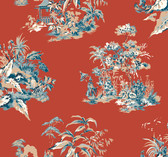 Ashford Toiles AF1991 - Oriental Scenic Wallpaper Red Orange
