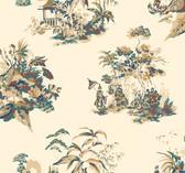 Ashford Toiles AF1994 - Oriental Scenic Wallpaper Gold