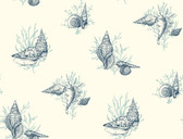 Ashford Toiles AF2012 - Shell Toile Wallpaper Blue