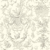 Ashford Toiles AF2020 - Old World Toile Wallpaper Gray