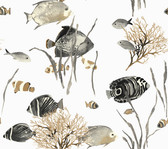 Ashford House AT7000 - Tropics Tropical Reef Wallpaper Grey