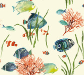 Ashford House AT7001 - Tropics Tropical Reef Wallpaper Pearl