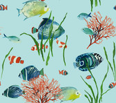 Ashford House AT7003 - Tropics Tropical Reef Wallpaper Blue.