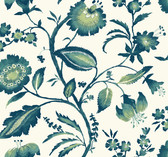 Ashford House AT7020 - Tropics Watercolor Jacobean Wallpaper Teal