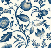 Ashford House AT7021 - Tropics Watercolor Jacobean Wallpaper Blue