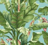 Ashford House AT7070 - Tropics Banana Leaf Wallpaper Aqua