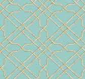 Ashford House AT7077 - Tropics Bamboo Trellis Wallpaper Aqua