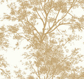 Ashford House SW7511 - Gold Tree Silhouette Sidewall Wallpaper