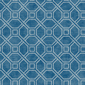 Coastal Calm CM3315 - Coastal Trellis Wallpaper Cobalt